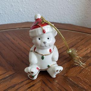 Lenox Teddy Bear Ornament Very Merry Porcelain Chr